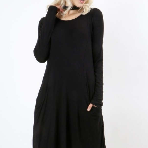 3df0933f4fd Zenana Outfitters Dresses | Casual Black Long Sleeve Tunic Swing ...